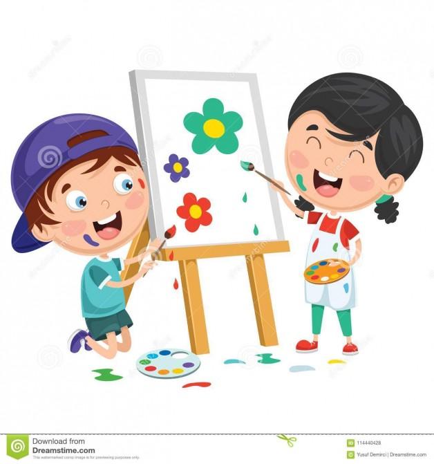 Immagine bambini che dipingono